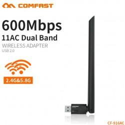 БЕЗЖИЧЕН Wi-fI АДАПТЕР COMFAST CF-916AC, 600Mbps, 802.11b/n/g/ac, Dual Band