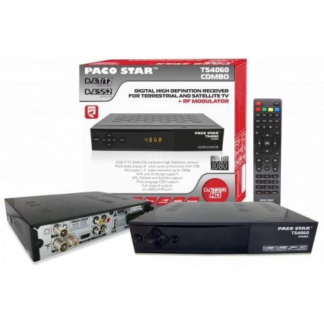 Комбиниран HD Ефирен DVB-T/T2 + Сателитен DVB-S/S2 приемник PACOSTAR- TS4060, с RF модулатор