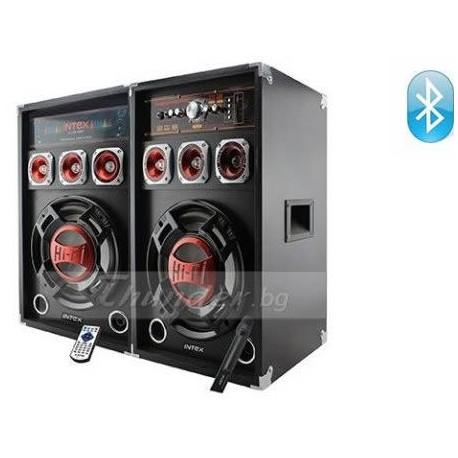 Активни Тонколони INTEX DJ-215K с вграден усилвател, един безжичен микрофон, BLUETOOTH, FM радио, SD/USB